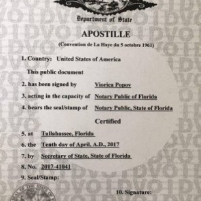 Apostille of Birth Certificate