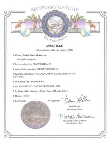 Apostille of Marriage Certificate